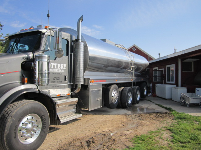 The milk truck pulls up to the milk cooling tank outside the milking parlor.