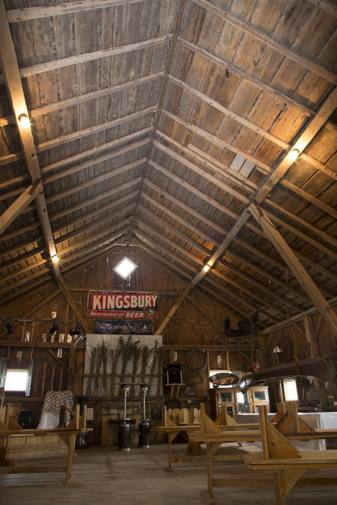 The historic barn showcases various historic relics.