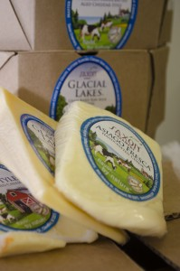 Wedges of Saxon Creamery cheese don creative and beautiful labels.